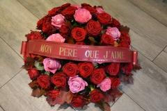 Coussin rouge et rose