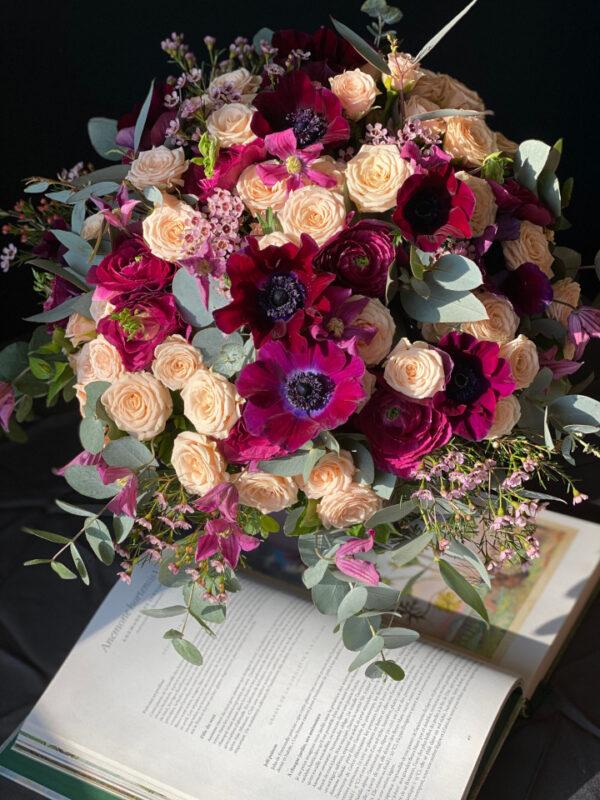 Bouquet roses anémones renoncules